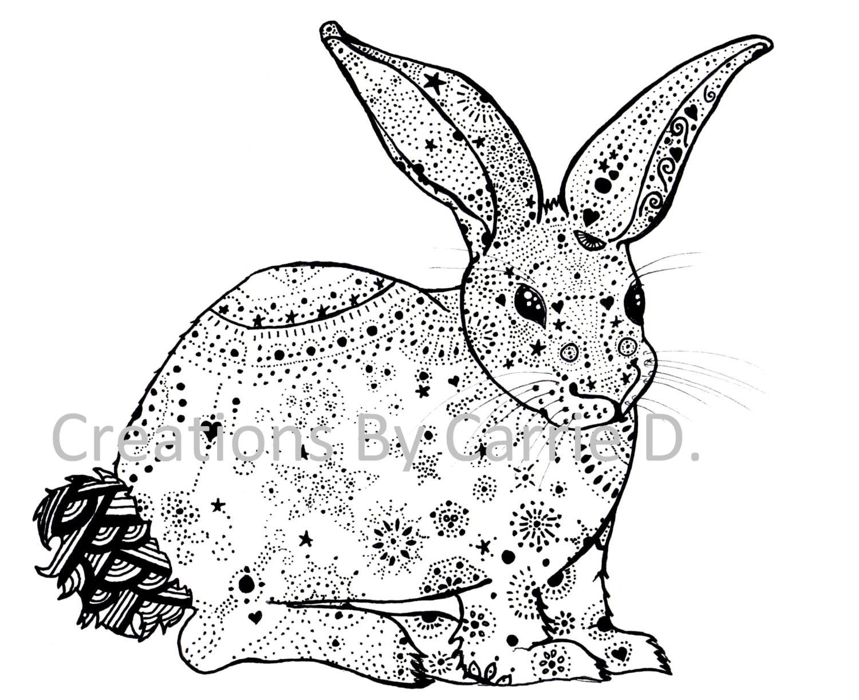 Kaninchen Kaninchen Zeichnung schwarz und weiß-Kunst Stift