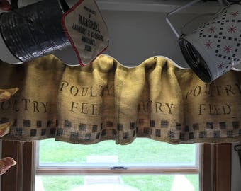 Primitive Curtains/Poultry Feed/Burlap Valance/ Feed Sack Curtains/ Primitive Window Valance/ Farmhouse Curtain
