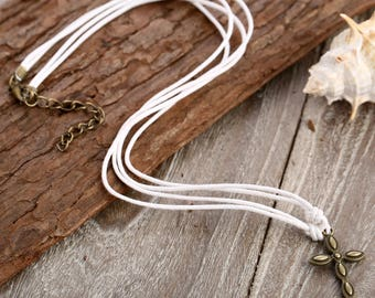 Cross Pendant Necklace // Cross Necklace // Christian Necklace // Cord Necklace // String Necklace // Cotton Necklace With Cross