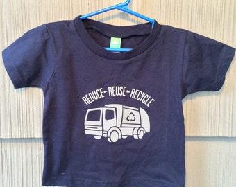 Reduce Reuse Recycle Garbage Truck Tshirt in Navy Blue