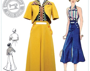 E-Pattern- Chic Ahoy- 30s Slacks, Halter, & Bolero- Size Pack A- Wearing History PDF Sewing Pattern