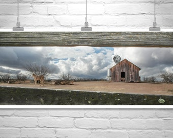 Horse Art, Windmill Art, Horse Photography, Panoramic Art, Western Picture, Empire Ranch, Tucson Arizona, Ranch Picture, Equestrian Print