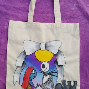 Nightmare Before Christmas Hand Painted lovers Jack and Sally Tote Shopping Bag