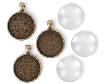 25mm Round Pendants - Antiqued Imitation Gold (IP017)