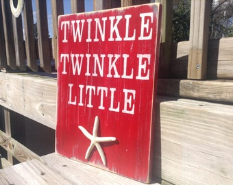 Beach Baby Nursery Sign Twinke Twinkle Little Starfish Coastal Decor