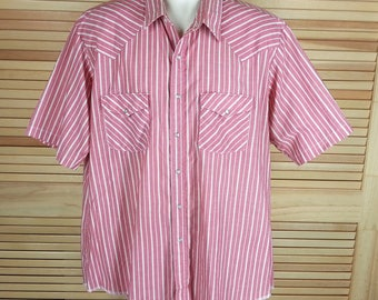 Vintage 70s H bar C western pearl snap shirt California Ranchwear short sleeves pink stripes size L to XL Made in USA