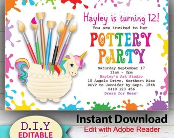 EDITABLE Pottery Party Invitation, Cute Unicorn and Art theme, Vibrant Rainbow colors, Edit at Home with Adobe Reader.