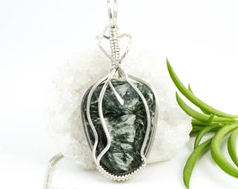 Green Stone Pendant - Sterling Seraphinite Necklace - Argentium Sterling Wire Wrapped Pendant - Seraphinite Pendant - Seraphinite Jewelry