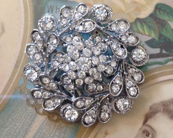 Ornate Vintage Round Rhinestone Brooch AND/OR Pendant! Silver Bright Clear Sparkly Crystals Unique Bridal Wedding Special Occasion Bling