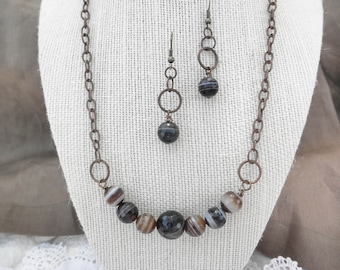Faceted Agate Jewelry Set of Necklace and Earrings on Antiqued Brass