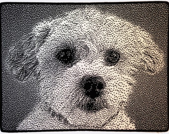 "Portrait of ""Lucky,"" custom dog portrait, portrait from photo, custom knit art, knitted wall art, knitted portrait, white dog"