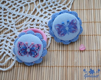 hair bow butterfly hand embroidery gift for girl hair nature jewelry gift for her blue hair accessory crochet hand knit gift for girlfriend