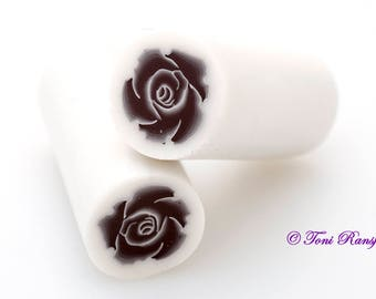Black Rose Polymer Clay Cane, Raw polymer Clay Cane, Millefiori Polymer Clay