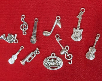 "10pc set ""music"" charms in antique silver style (BC1148)"