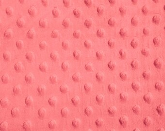 Coral Minky Dot Fabric, Sold by The Yard