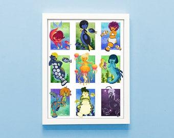 Mermaids 11x14 print, mermay art, cute print, mermaid lovers