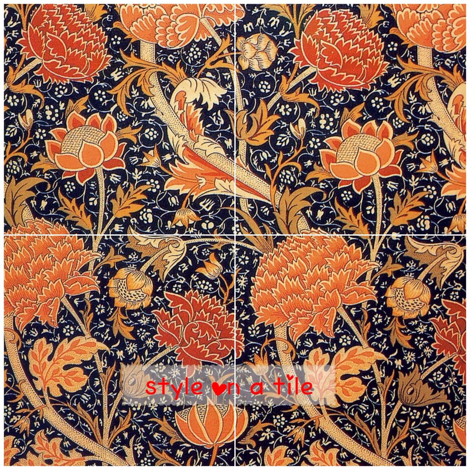 Lovely william morris floral cray flower 4 x 6 or 152mm ceramic tile lovely william morris floral cray flower 4 x 6 or 152mm ceramic tile mural mosaic wall art splash back dailygadgetfo Choice Image
