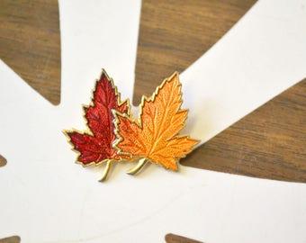 1960s Autumn Leaf Enamel Brooch