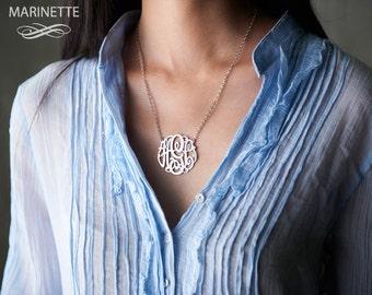 "Silver monogram necklace - Personalize necklace - Bridesmaid necklace - Personalized necklace - Custom necklace - Monogram pendant - 1.5"""