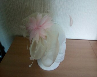 Fascinators in Ivory Crinoline with pink flower feather