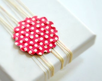 Scallop Envelope Seals {10} Red Spot Scallop Seals   Envelope Stickers   Red Spot Seals   Embossed Gift Seals   Red Gift Seals