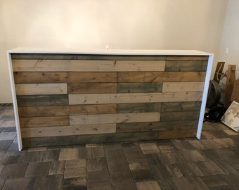 The Anthem - 8' industrial rustic pallet wall look two level reception desk, sales counter or bar