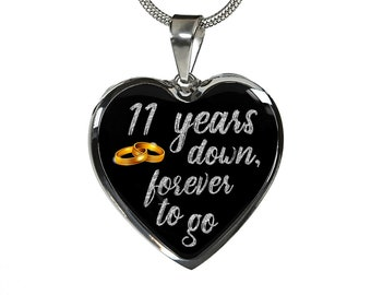 11th Anniversary Gift For Wife Woman For Her Girlfriend 11 Years Anniversary Necklace Jewelry Engraved Necklace Heart Gold Silver Pendant