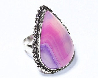 Awesome Pink Botswana Agate 925 Silver Ring Adjustable