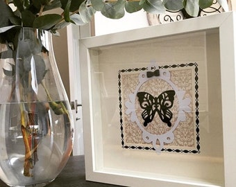 Butterfly silhouette paper craft in box frame