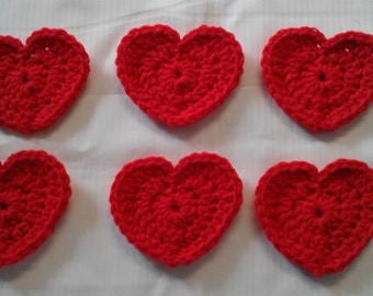 6 RED CROCHETED HEART Appliques Embellishments Valentines Scrapbook Sew On Glue