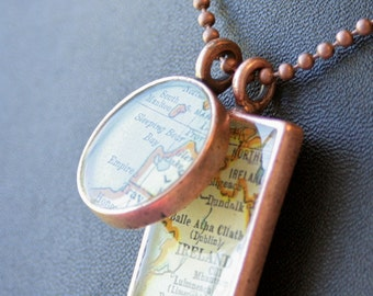"Custom ""GirlFriend Gift"" Map Pendants in Brushed Copper"