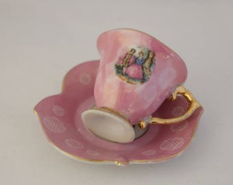 Antique Demitasse cup saucer small Fragonard Courting Couple Love Story Scalloped Saucer Leaf Design Pink Tea Cup Japanese Elbro