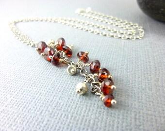 Waterfall Garnet Necklace - Root / Heart Chakras - Cascade Pendant Necklace - Garnet & Sterling Silver - January Birthstone - Chakra Jewelry