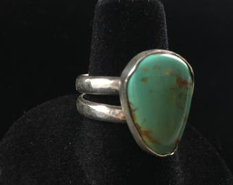 Turquoise and Sterling Double Band Ring