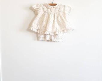 Vintage White and Pink Rosebud Baby Dress