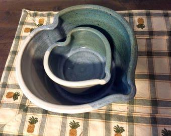 Beautiful Vintage Pottery Heart Nesting Bowls, Handmade, Signed Earthenware Bowls.