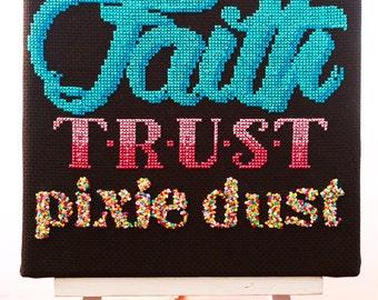 Peter Pan Cross Stitch Pattern - Faith Trust Pixie Dust - Digital PDF Downloadable Pattern