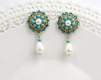 Unique Turquoise stud earrings, Pearl drop earrings wedding, Gift for mother, Formal earrings gold, Beaded jewelry for wife