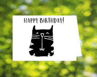 Black cat birthday card, Happy Birthday, cat lover's card