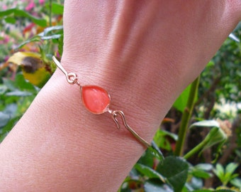 Orange Bangle Bracelet, Orange Rose-Gold Bracelet, Peach Teardrop Bracelet, Orange Jewelry, Wedding Jewellery,Bridal Jewelry,Bridesmaid Gift