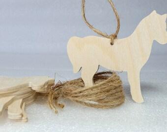Horse Ornaments, set of 6, Unfinished,  DIY kit,  gift / momento / holiday decoration