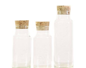 FREE SHIPPING - Set of 3 Vintage Glass Display Jars with Cork Lids