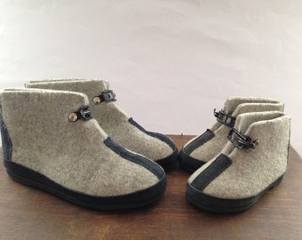 Vintage Swedish gray felt boots Gray woolen boots Children felt Ankle boots Grey felt boots for kids