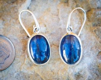 Kyanite Earrings - Kyanite Cabochon dangle earrings - Kyanite Jewelry - Kyanite Blue Gemstone Earrings - Kyanite Dangle Earrings - Kyanite
