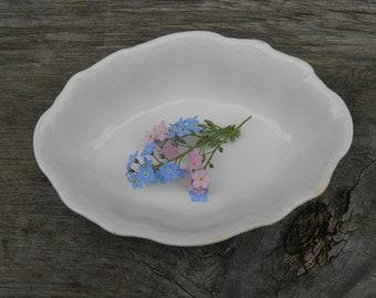 "White Ironstone Soap Dish Small Bowl Trinket Ring Holder Antique Homer Laughlin ""Hudson"" Shabby Farmhouse Style Scalloped Shape"