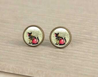 Cat Stud Earrings - Glass Cat Earrings Studs  (cat 54)