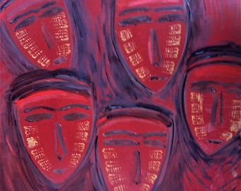 """Original Abstract Oil Painting by Nalan Laluk: """"The Watchers"""""""