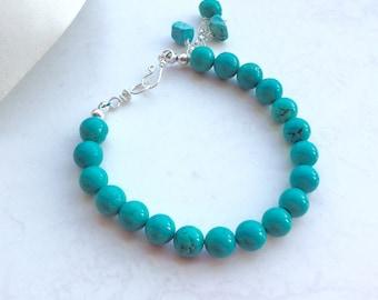 Silver Bracelet Turquoise Stone Stacking Bracelet Contemporary Artisan Turquoise Bracelet