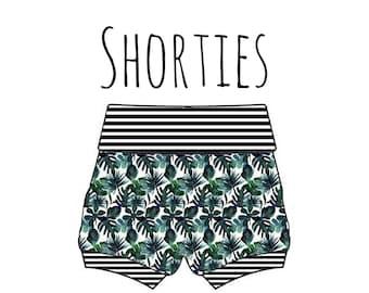 PREORDER palm leaf bummies, palm leafs, baby monstera shorts, palmleaf baby shorts, monstera leaf print shorts, baby bummies, monstera short