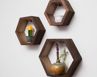 Set of 3 Hexagon Shelves with Rose Gold Interior